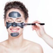 Black Charcoal Mask Application On Beautiful Woman. Poster