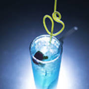 Blue Curacao Cocktail Drink With Cherry Poster