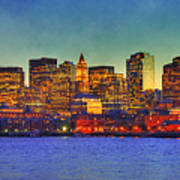 Boston Skyline Sunset Poster by Joann Vitali