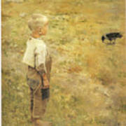Boy With A Crow Poster