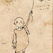 Boy With Bird Poster