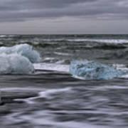 Brethamerkursandur Iceberg Beach Iceland 2155 Poster