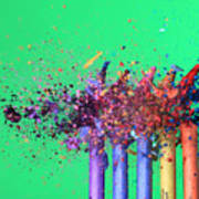 Bullet Hitting Crayons Poster