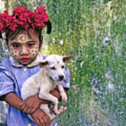 Burmese Girl With Puppy Poster