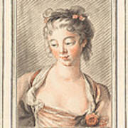 Bust Of A Young Woman Looking Down Poster