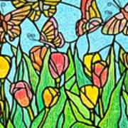 Butterflies In The Tulip Garden 2 Poster