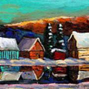 Canadian Art Laurentian Landscape Quebec Winter Scene Poster