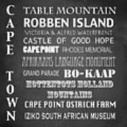 Cape Town Famous Landmarks Poster