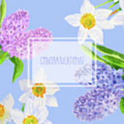 Card With Spring Flowers Poster