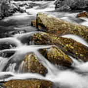 Cascading Water And Rocky Mountain Rocks Poster