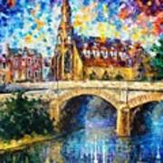 Castle By The River - Palette Knife Oil Painting On Canvas By Leonid Afremov Poster