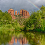 Cathedral Rock Rainbow Poster