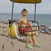 Caveman Above Beach Santa Cruz Boardwalk Poster