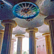 Ceiling Boss And Columns, Park Guell, Barcelona Poster