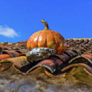 Ceramic Pumpkin On A Roof Poster