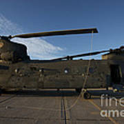 Ch-47 Chinook Helicopter On The Tarmac Poster