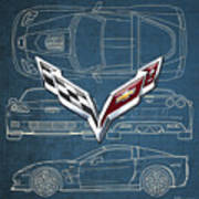 Chevrolet Corvette 3 D Badge Over Corvette C 6 Z R 1 Blueprint Poster
