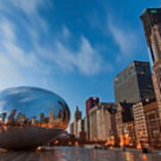 Chicago Skyline And Bean At Sunrise Poster