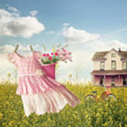 Child's Dress And Toys Hanging On Line With Farmhouse In Backgro Poster