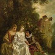 Chivalric Scene In A Park Poster