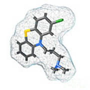 Chlorpromazine, Molecular Model Poster