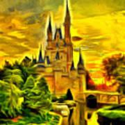 Cinderella Castle - Van Gogh Style Poster