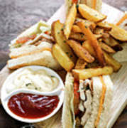 Classic Club Sandwich With Fries On Wooden Board Poster