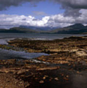 Cloud Passing Across The Cuillin Main Ridge And Bla Bheinn From Tokavaig Sleat Isle Of Skye Scotland Poster