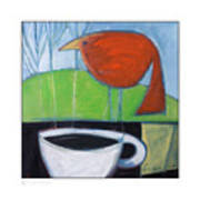 Coffee With Red Bird Poster