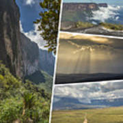 Collage Of Table Mountain Roraima Poster