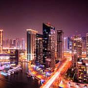 Colorful Night Dubai Marina Skyline, Dubai, United Arab Emirates Poster
