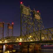 Columbia Crossing I-5 Interstate Bridge At Night Poster