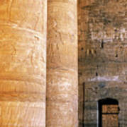 Columns With Hieroglyphs Depicted Horus At The Temple Of Edfu Poster by Sami Sarkis