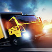 Commercial Cargo Delivery Truck With Trailer Driving On Highway At Sunset. Poster