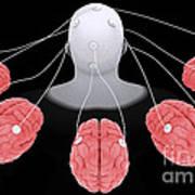 Conceptual Image Of Multi-brain Poster