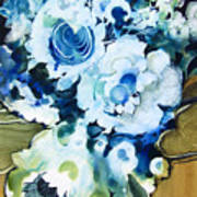Contemporary Floral In Blue And White Poster