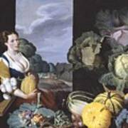 Cookmaid With Still Life Of Vegetables And Fruit Poster