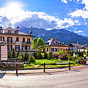 Cortina D' Ampezzo Street And Alps Peaks Panoramic View Poster