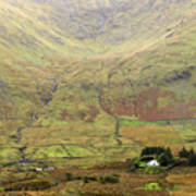 Cottage At The Foothill Of The Colorful Connemara Mountains Ireland  Poster