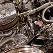 Custom Car Chromed Engine Poster