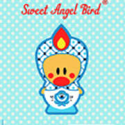 Cute Art - Blue Polka Dot Folk Art Sweet Angel Bird In A Nesting Doll Costume Wall Art Poster