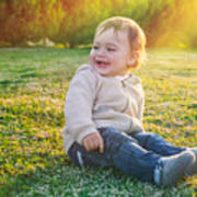 Cute Baby Boy Outdoors Poster