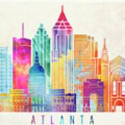 Atlanta Landmarks Watercolor Poster Poster