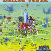Dallas Texas Cartoon Map Poster