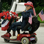 Patriotic Lady On A Scooter Poster