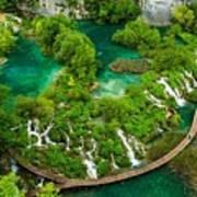Dave Ruberto - Wonderful Green Nature Waterfall Landscape  Poster
