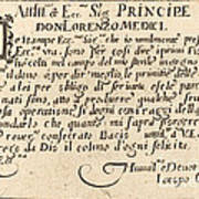 Dedication To Don Lorenzo De' Medici Poster