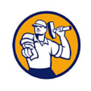Demolition Worker Hammer Pointing Circle Retro Poster
