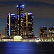 Detroit Skyline Panorama Poster