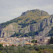 Distant View Of Cefalu Sicily  Poster